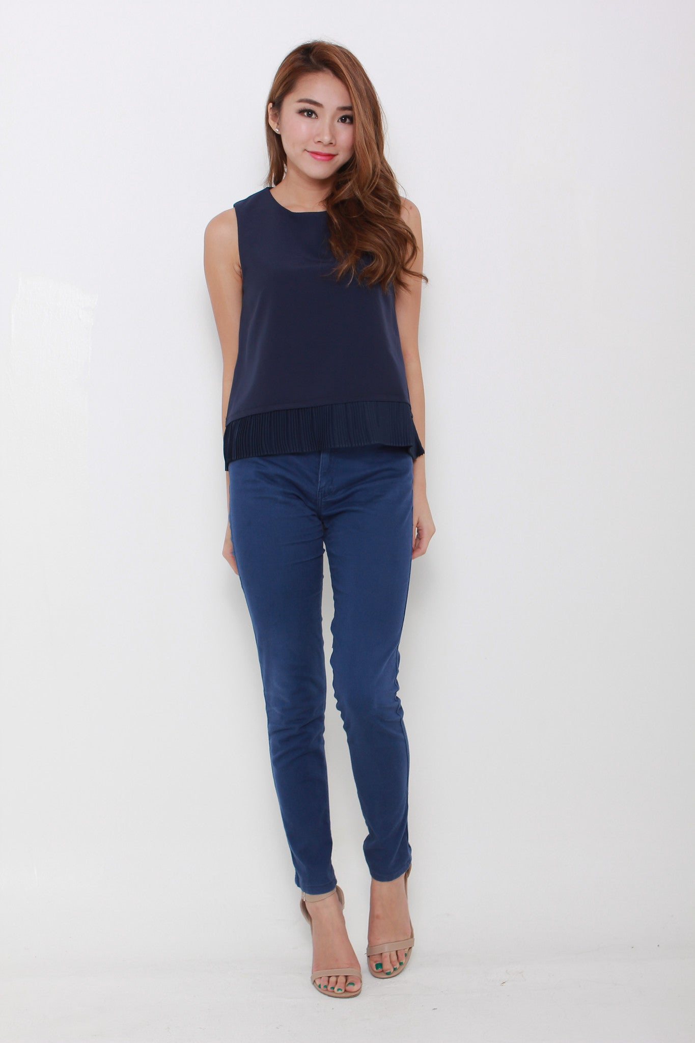 Zoey Pleat Hem Top in Blue