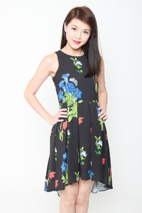 Andrea Floral Dip Hem Dress in Black