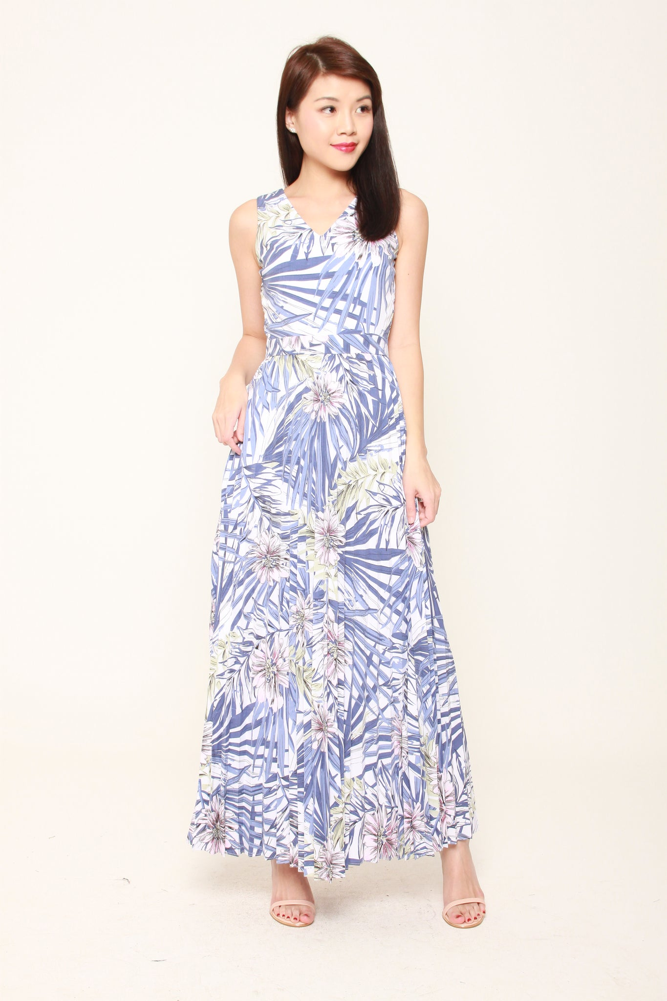 Lila Tropical Floral Pleat Maxi Dress in Blue