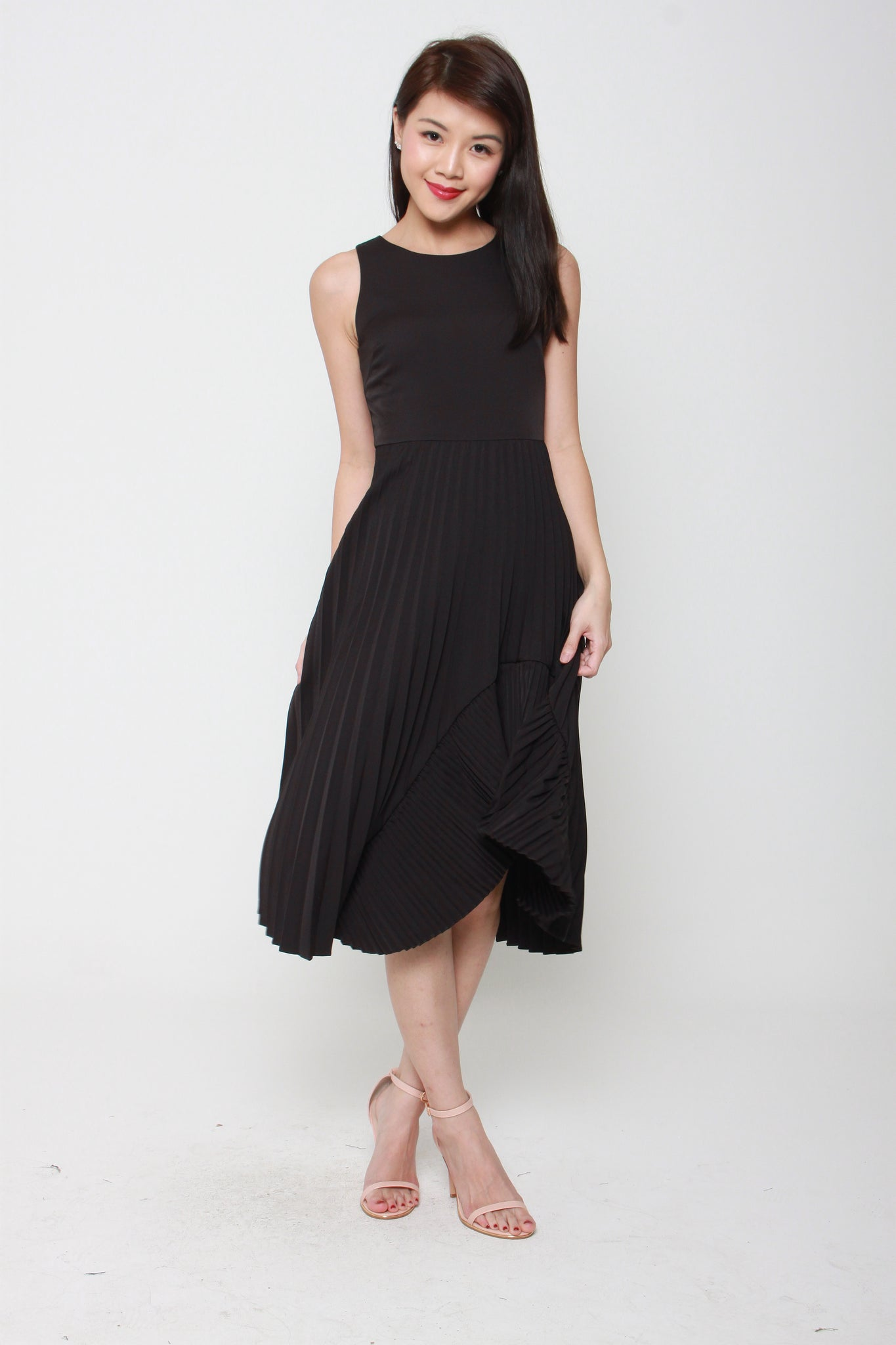 Naomi Pleat Ruffle Skater Dress in Black