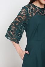 Load image into Gallery viewer, Everlyn Flare Belle Sleeve Lace Dress in Forest Green