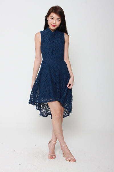 Eden Hi Lo Cheongsam Dress in Navy