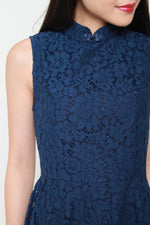 Load image into Gallery viewer, Eden Hi Lo Cheongsam Dress in Navy