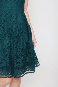 Luna Panel Lace Dress in Forest Green