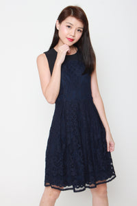 Luna Panel Lace Dress in Navy