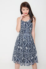 Load image into Gallery viewer, Hailey Lace Lattice Midi Skater Dress in Blue/White