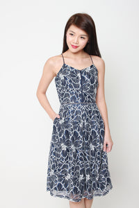 Hailey Lace Lattice Midi Skater Dress in Blue/White