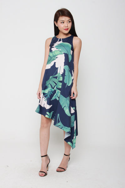 Jade Floral Asymmetrical Dropwaist Dress in Blue