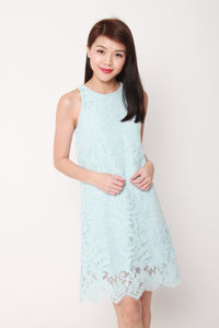 Ellie Lace Shift Dress in Blue