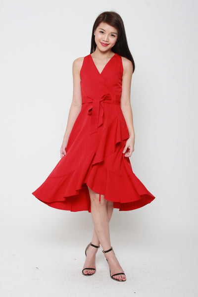 Aubree Sleeveless Ruffle Wrap Dress in Red