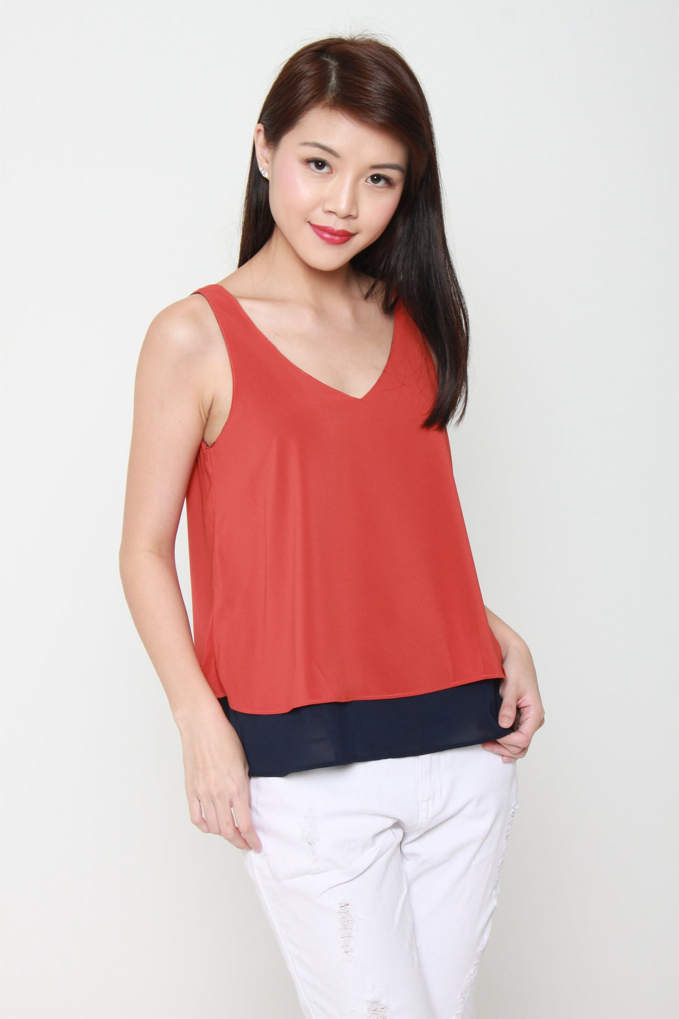 Evelyn Color Block Reversible V Neck Top in Camel / Blue