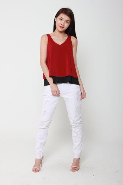 Evelyn Color Block Reversible V Neck Top in Red / Black