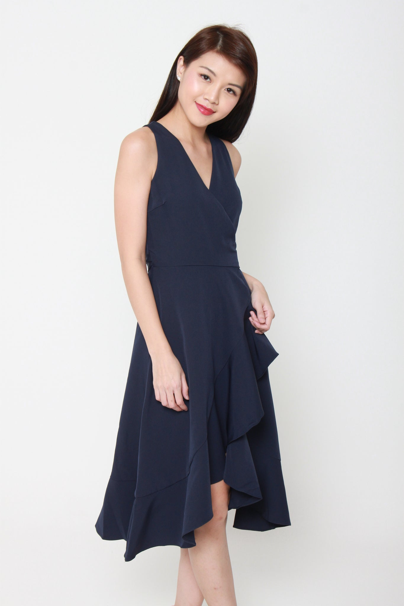 Aubree Sleeveless Ruffle Wrap Dress in Blue