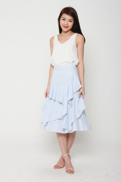 Emily Stripe Layer Ruffle Skirt in Blue / White