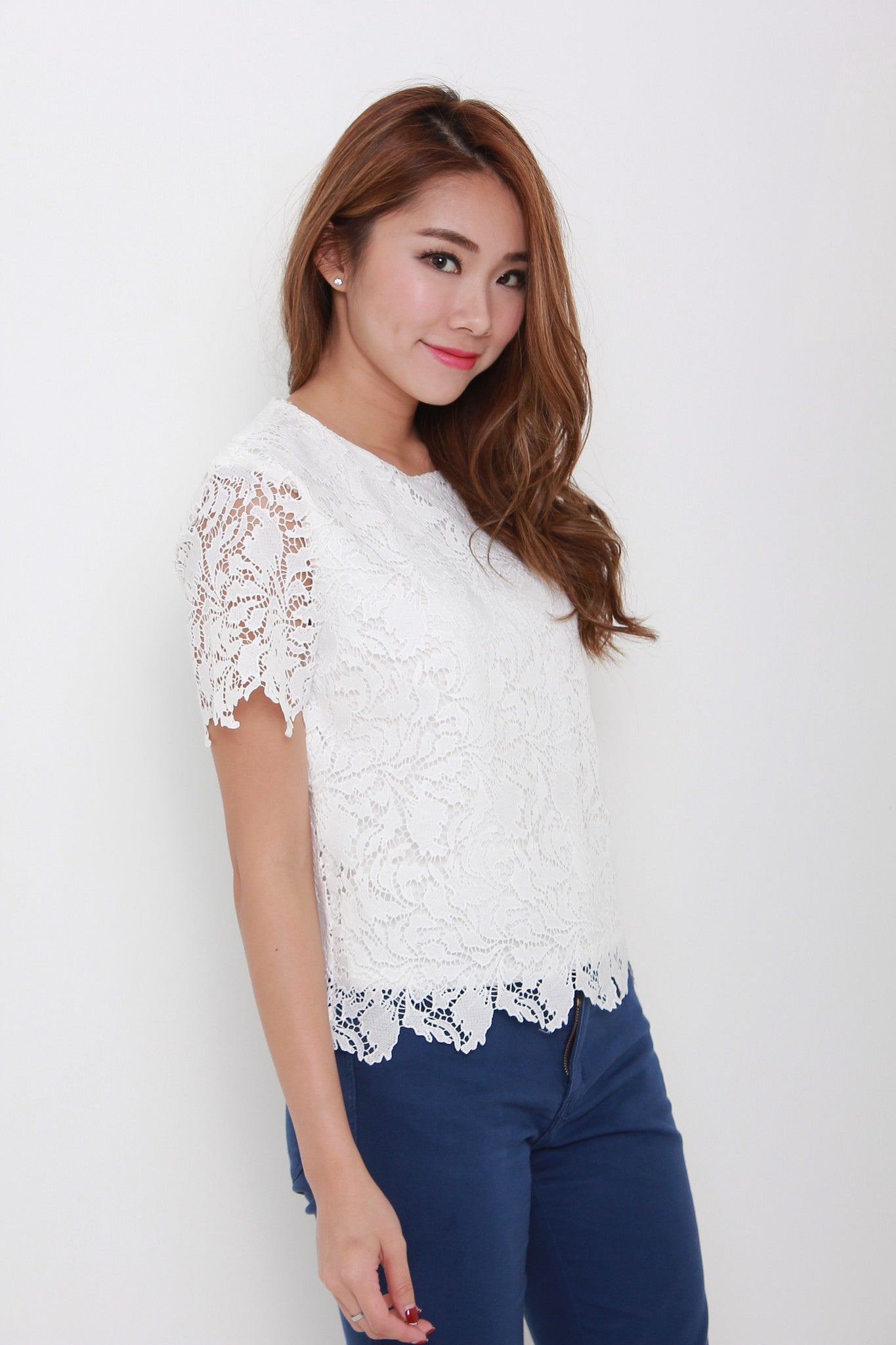Athena Scallop Crochet Top in White