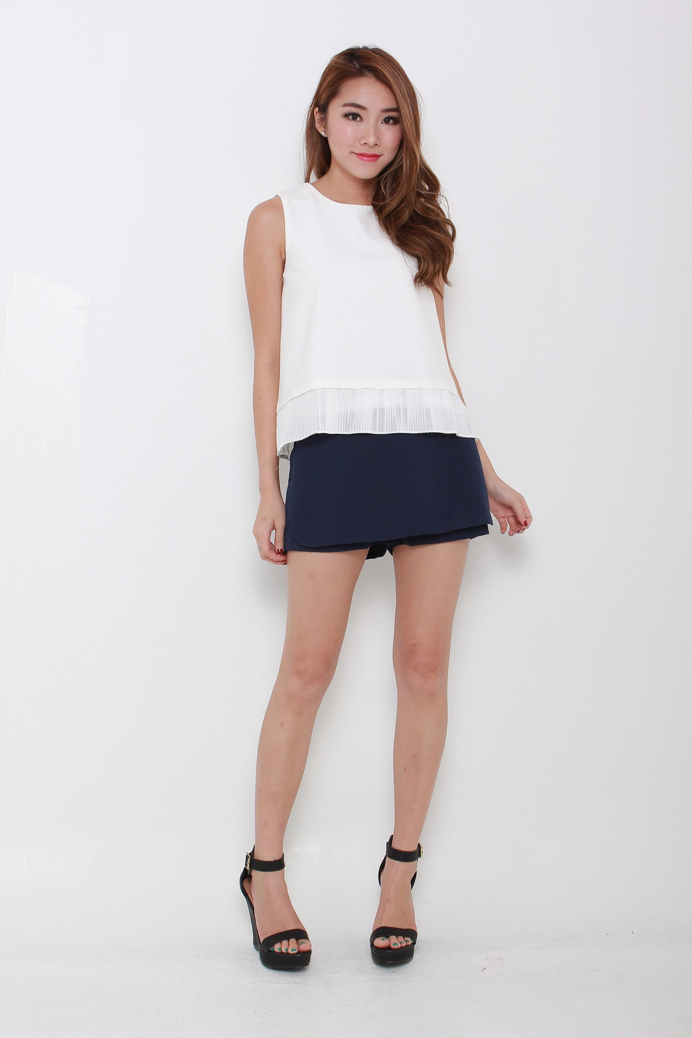 Zoey Pleat Hem Top in White