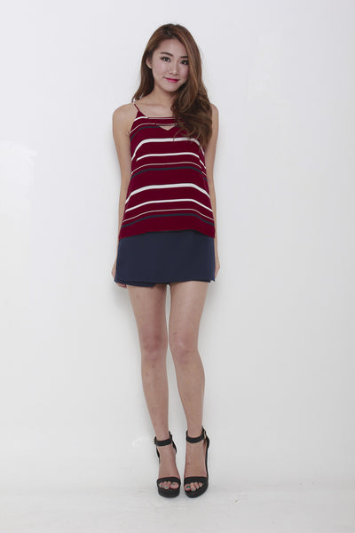 Beccy Stripe Spaghetti V Cut in Red