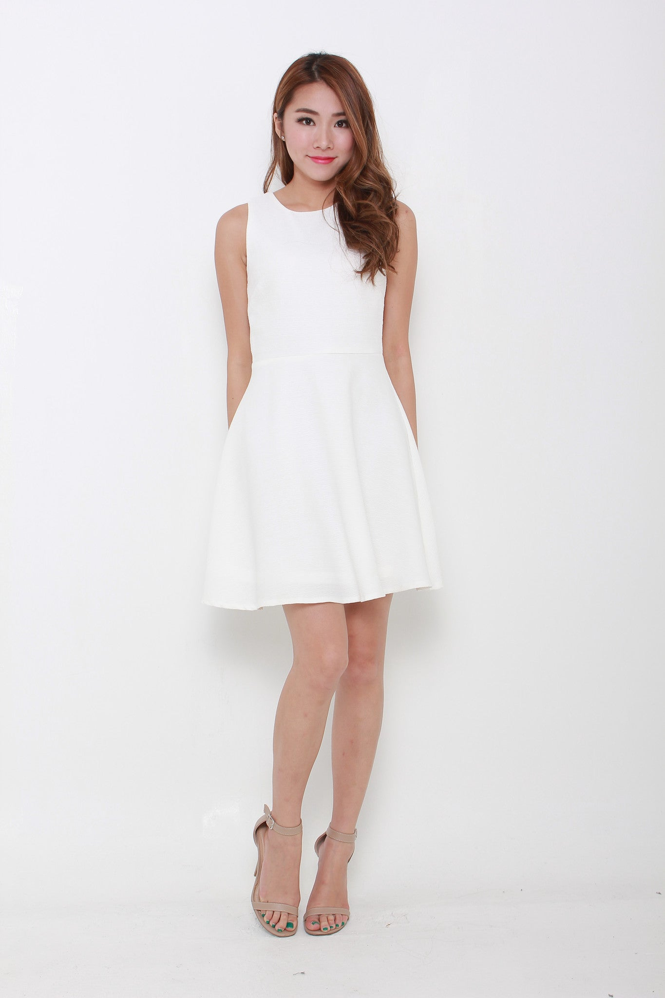Valentina Emboss Back Cut Out Dress in White