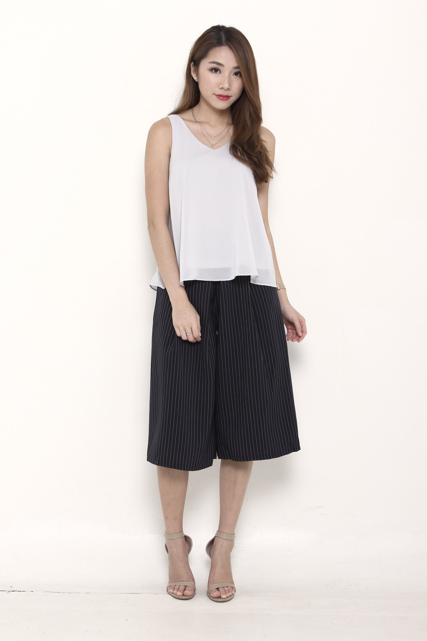 Trina Pin Stripe Box Culottes in Blue