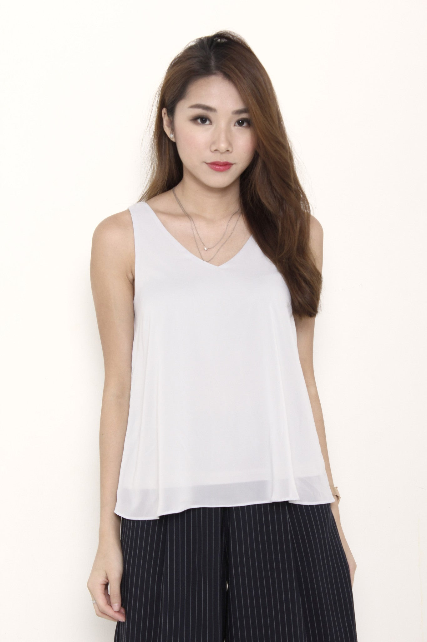 Monroe V Neck Top in Grey