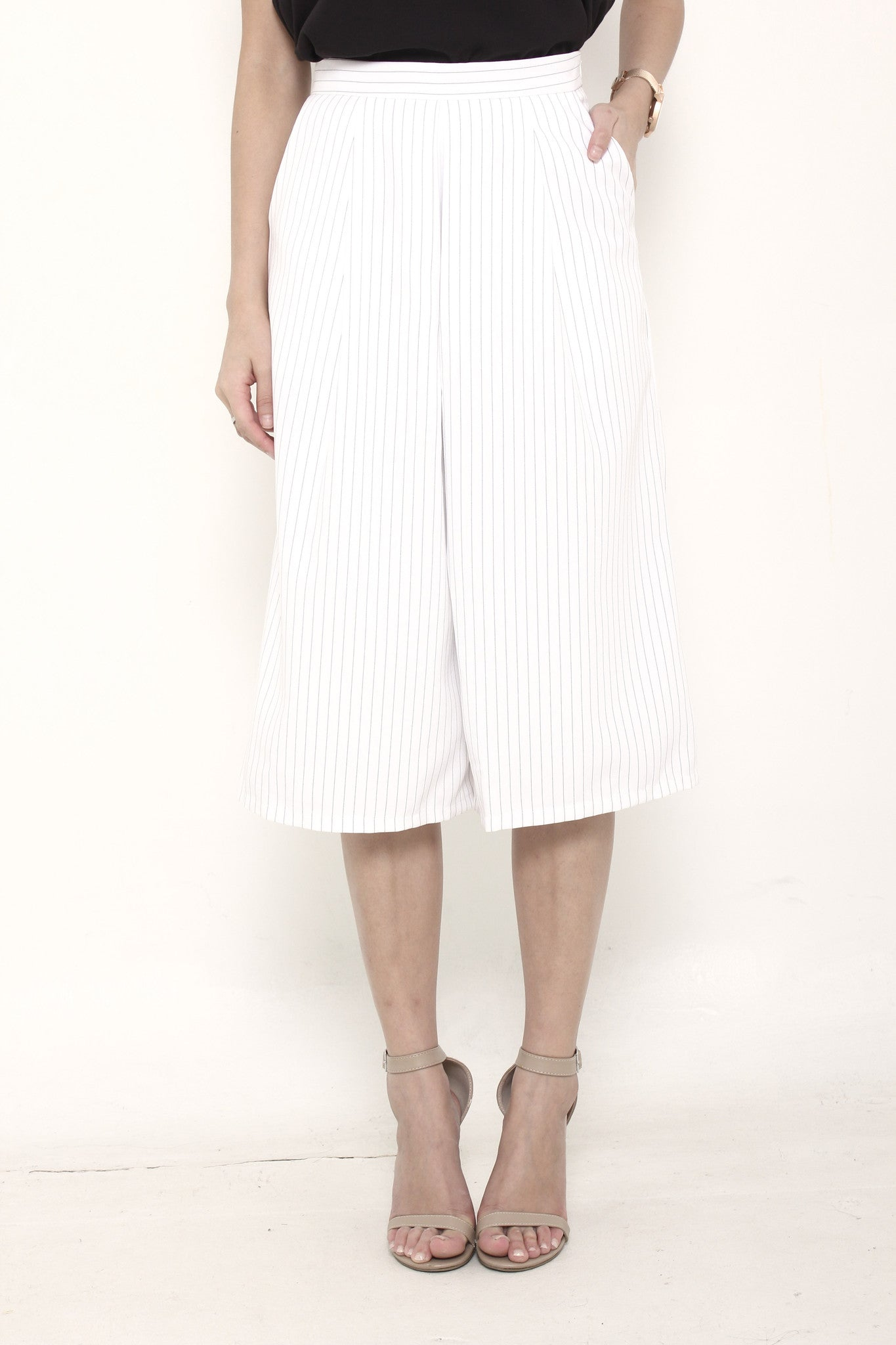 Trina Pin Stripe Box Culottes in White