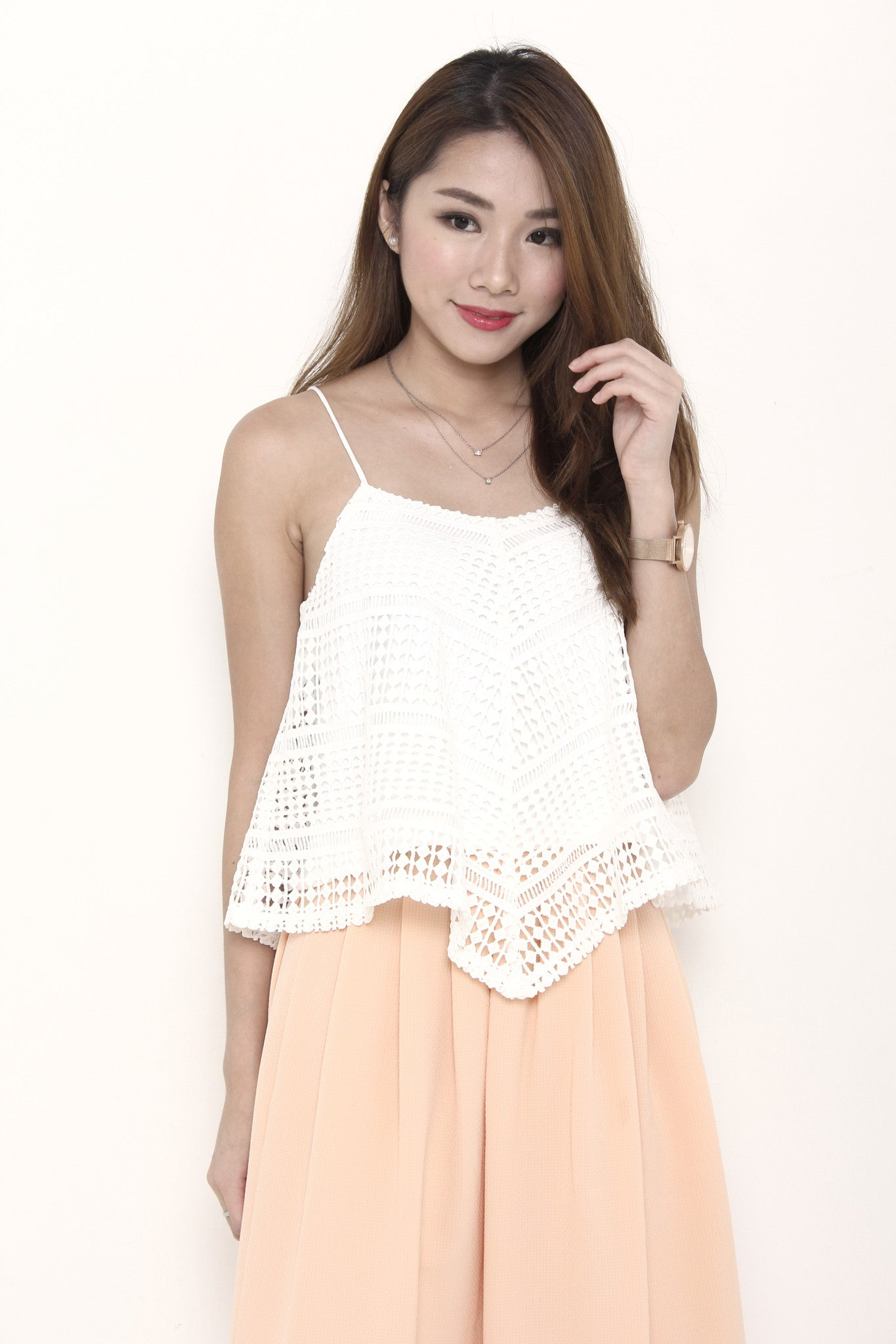 Jaya Crochet Panel Top in White