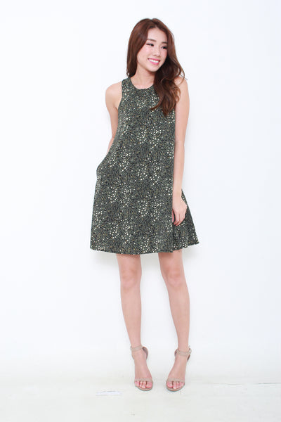 Paisley Tank Dress in Black/White/Green Floral