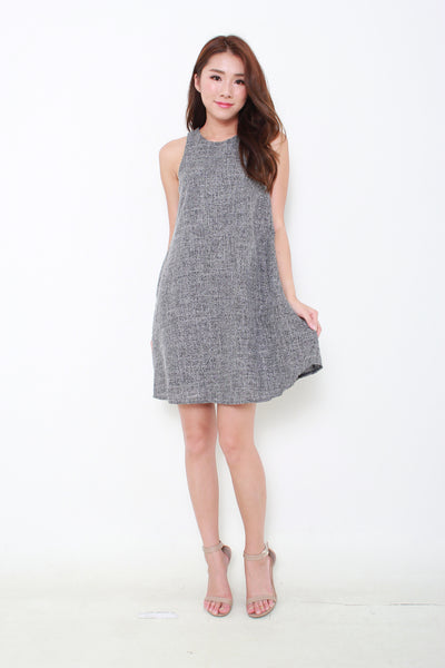 Paisley Tank Dress in Tweed Navy