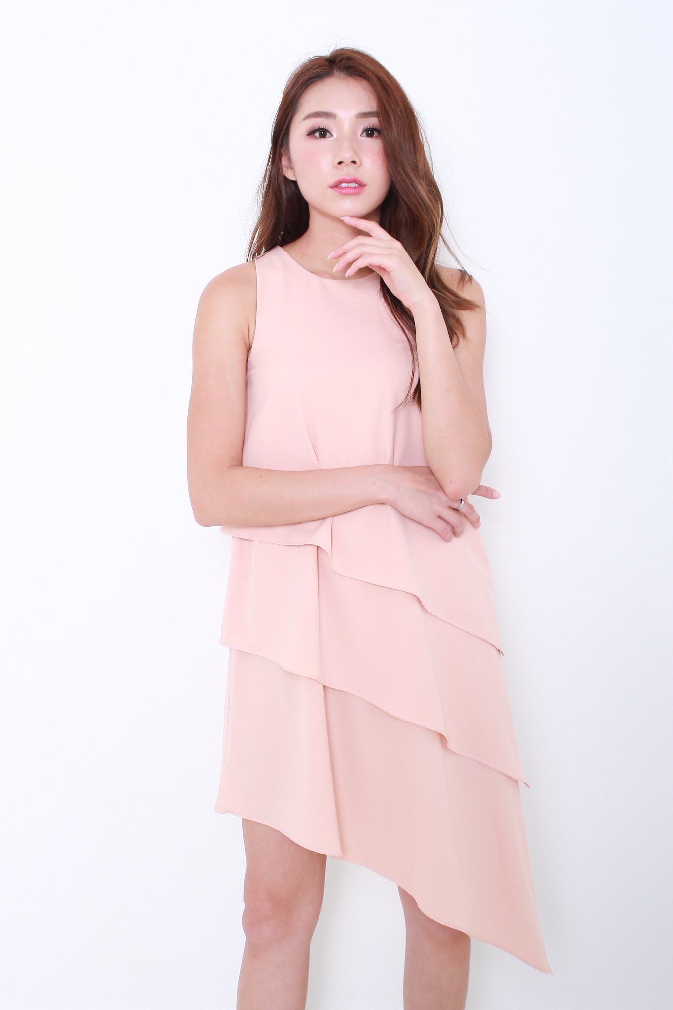 Eva Tiered Asymmetrical Dress in Nude