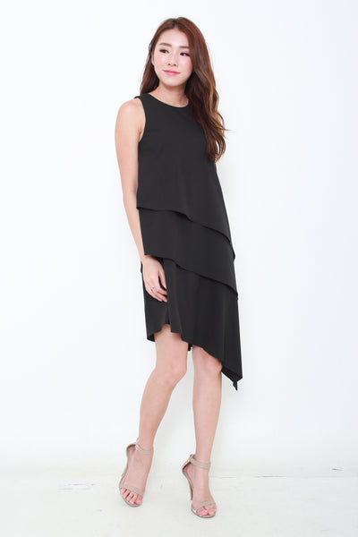 Eva Tiered Asymmetrical Dress in Black