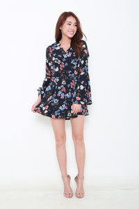 Lyric Floral Bell Sleeve Romper in Navy Blue
