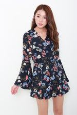 Load image into Gallery viewer, Lyric Floral Bell Sleeve Romper in Navy Blue