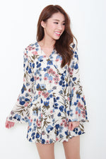 Load image into Gallery viewer, Lyric Floral Bell Sleeve Romper in Beige