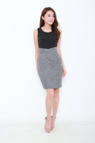 Harper Paper Bag Dress in Black/Grey