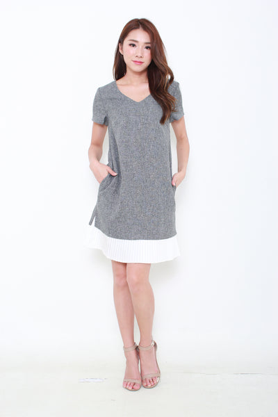 Yuna Pleated Hem Dress in Dark Grey