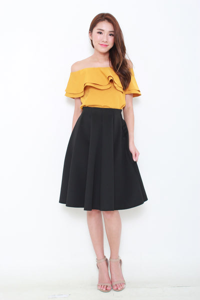 Sienna Ruffle Off Shoulder Top in Mustard