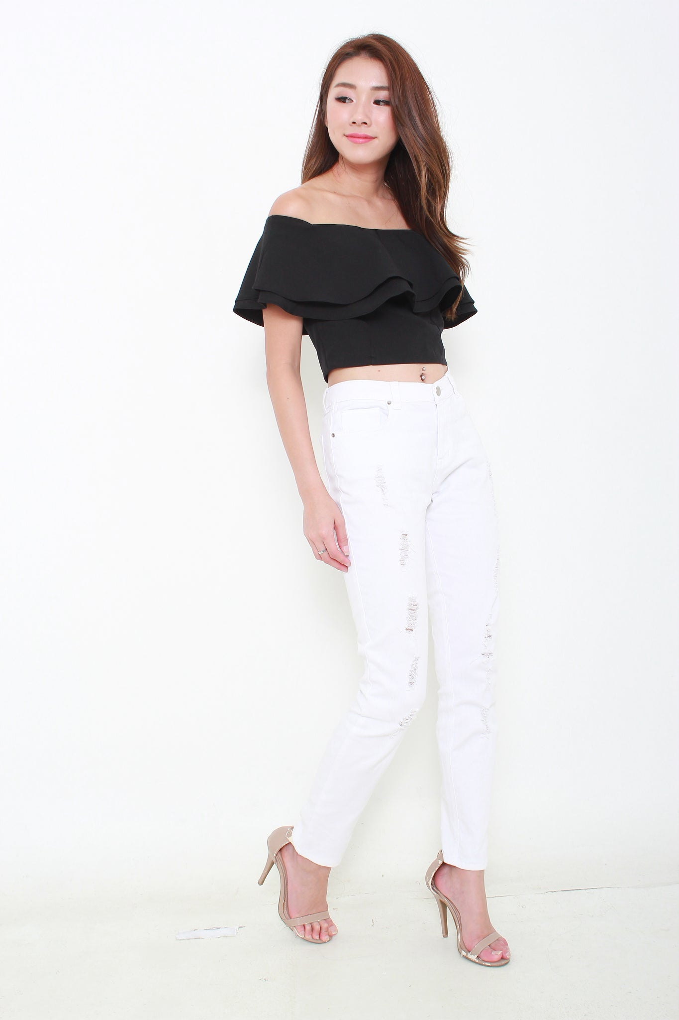 Sienna Ruffle Off Shoulder Top in Black