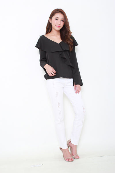 Gabriella Ruffle Top in Black