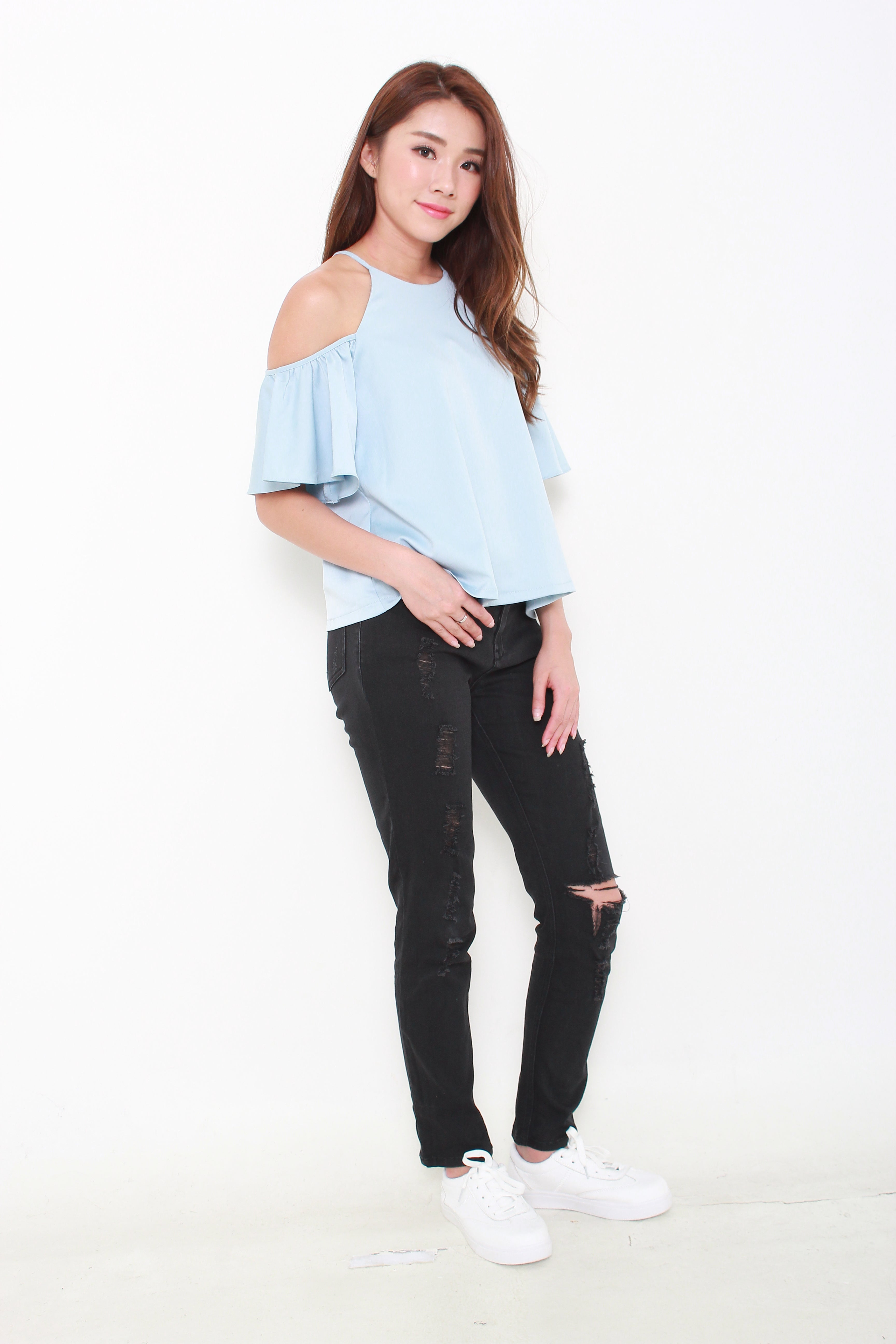 Aud Flutter Off Shoulder Top in Light Blue