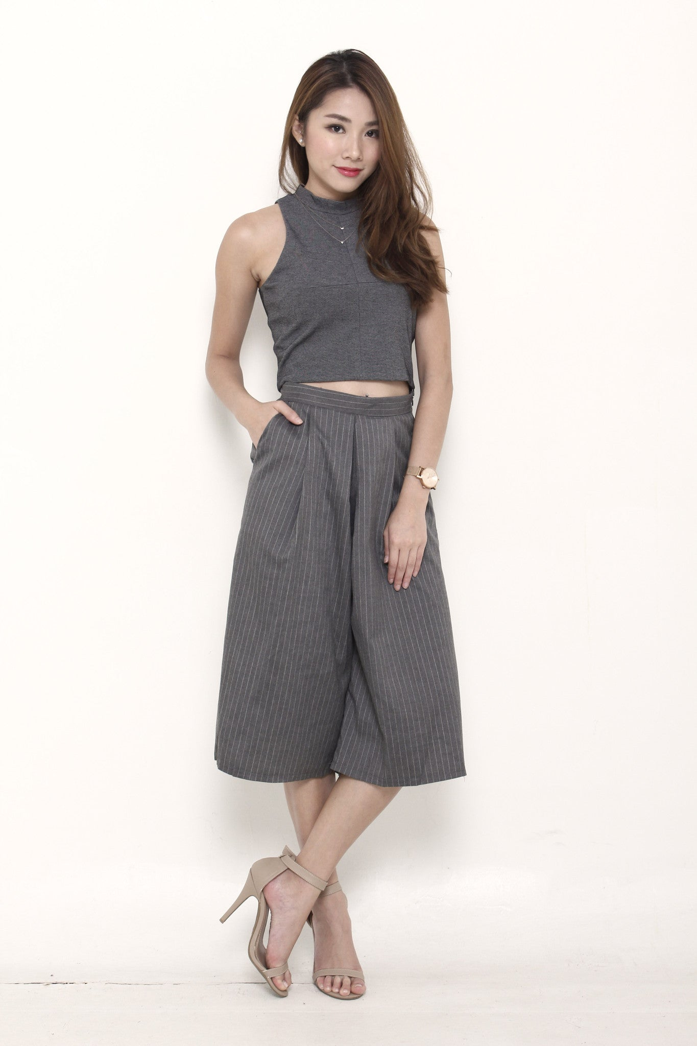 Dacia High Collar Crop Top in Grey