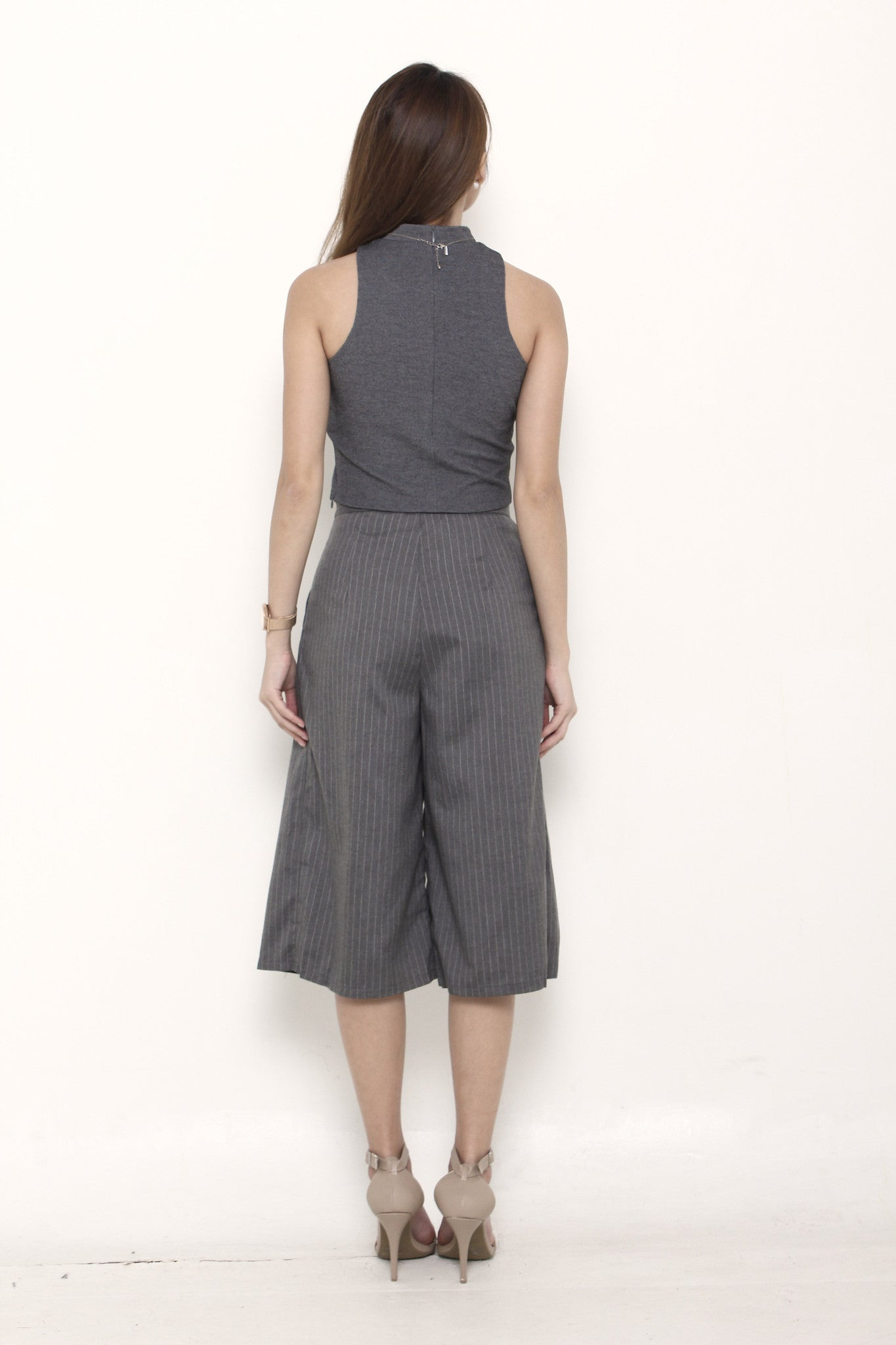Trina Pin Stripe Box Culottes in Grey