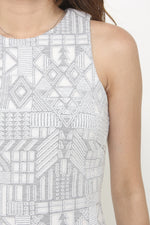 Load image into Gallery viewer, Kristy Layer Cut Aztec Bodycon Dress in Grey