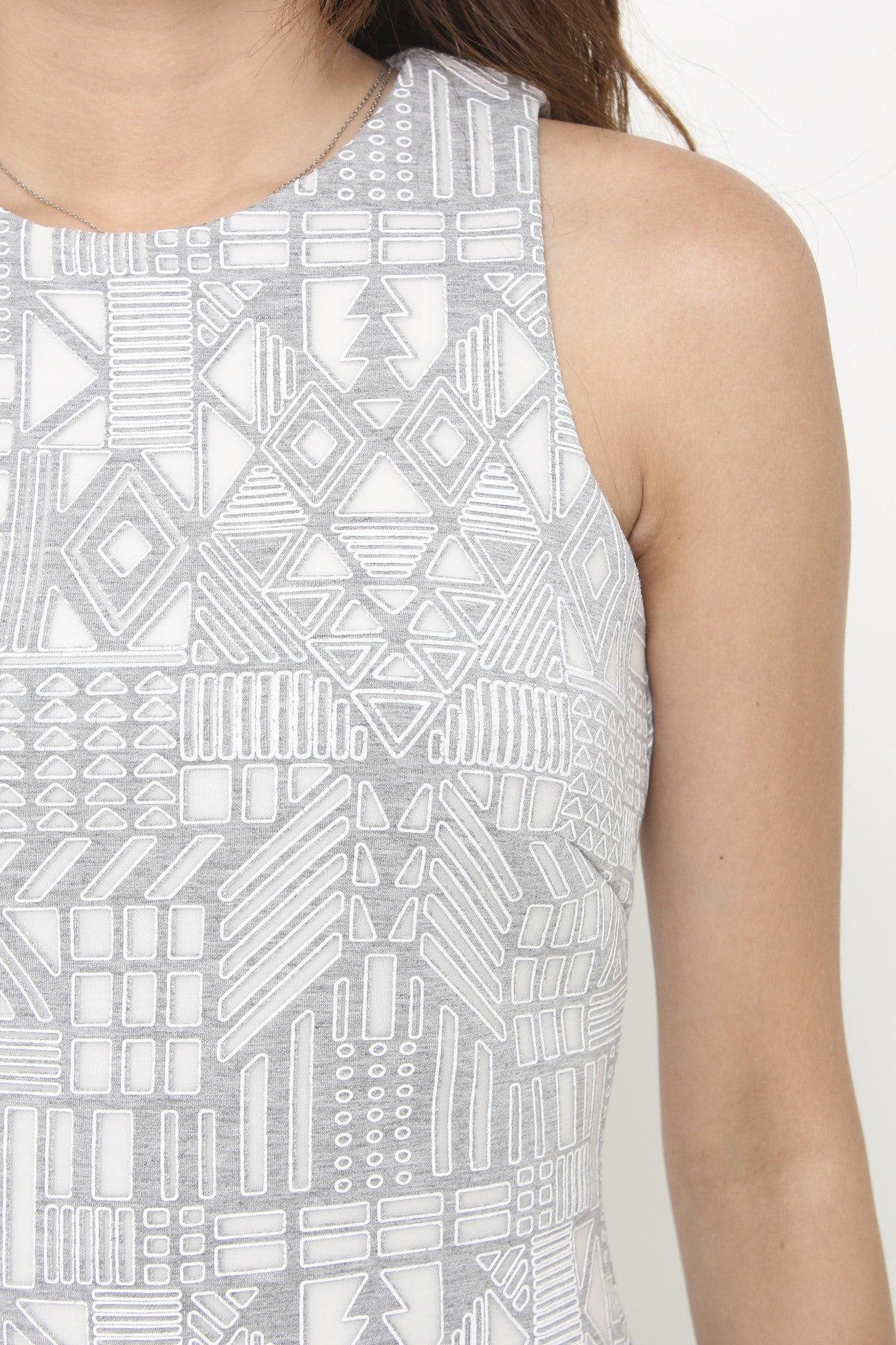 Kristy Layer Cut Aztec Bodycon Dress in Grey