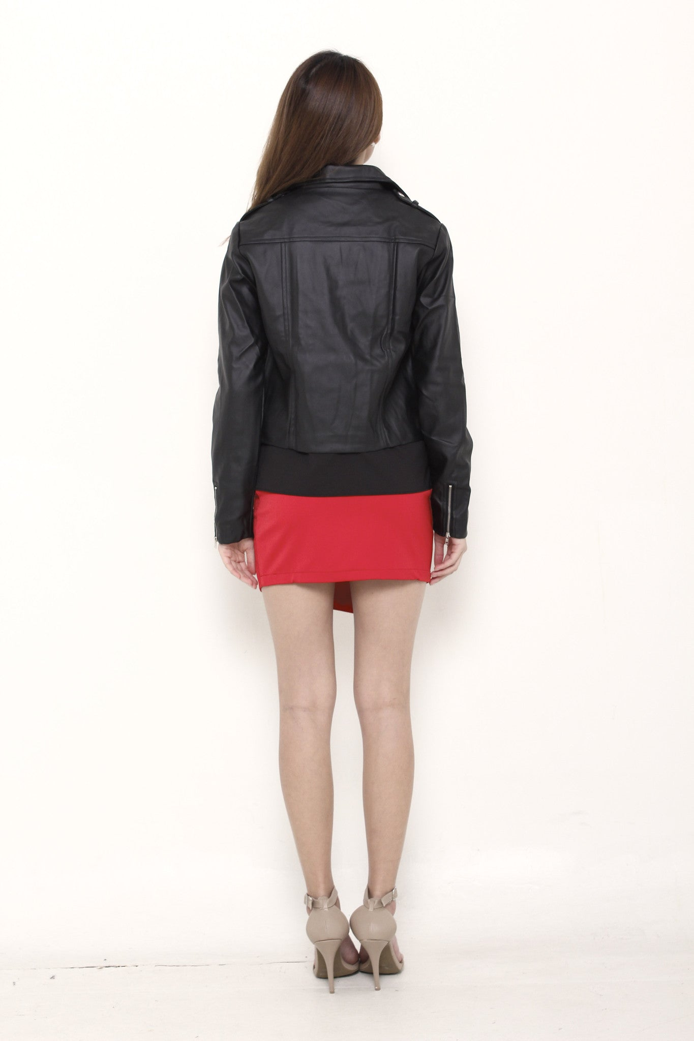 Mel Leather Biker Jacket in Black