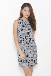Kristy Layer Cut Aztec Bodycon Dress in Black
