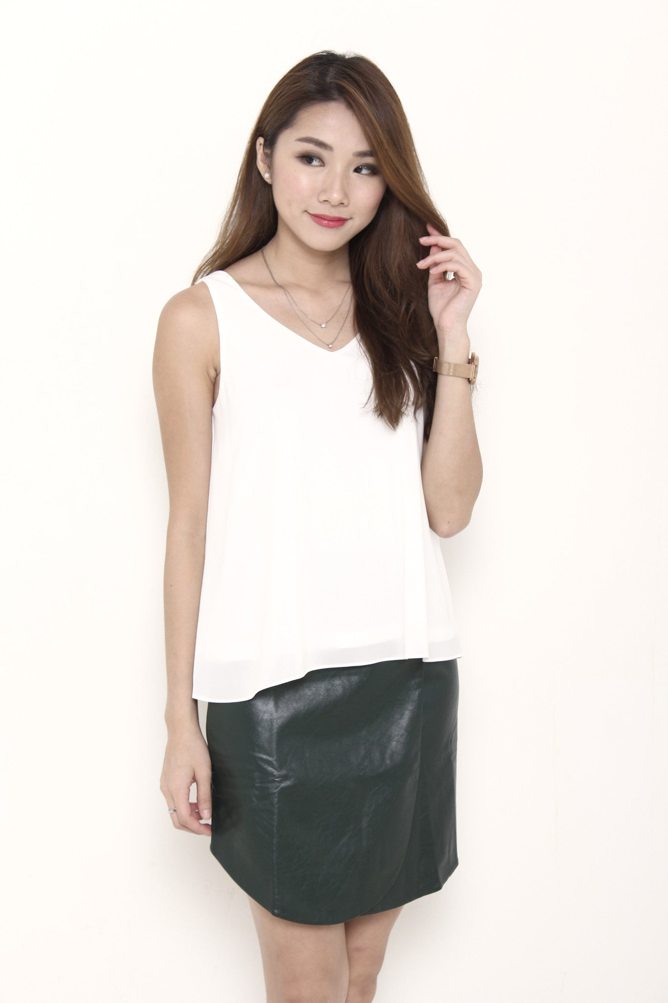 Monroe V Neck Top in White