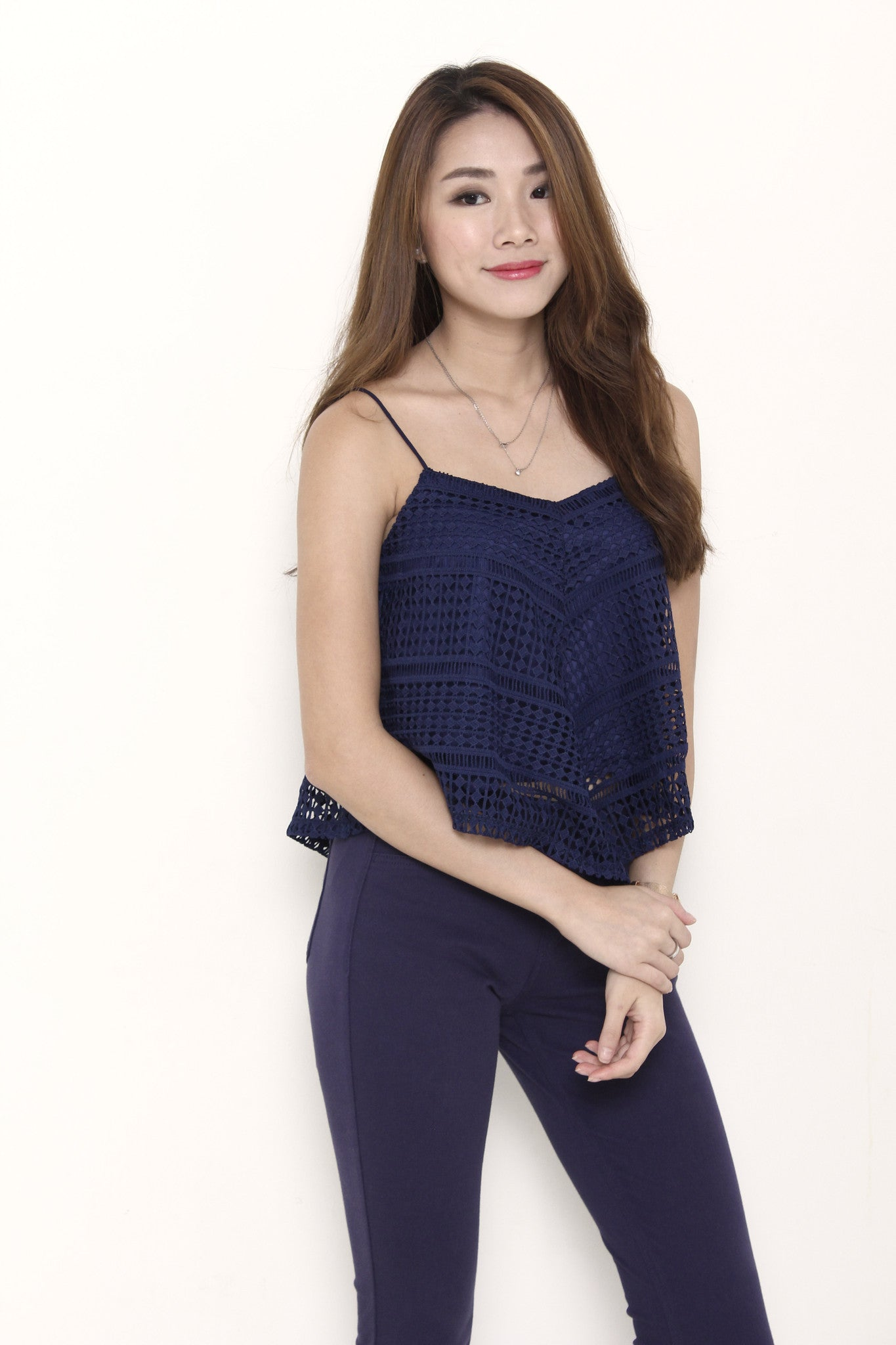 Jaya Crochet Panel Top in Blue
