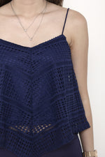 Load image into Gallery viewer, Jaya Crochet Panel Top in Blue