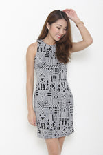 Load image into Gallery viewer, Kristy Layer Cut Aztec Bodycon Dress in Black