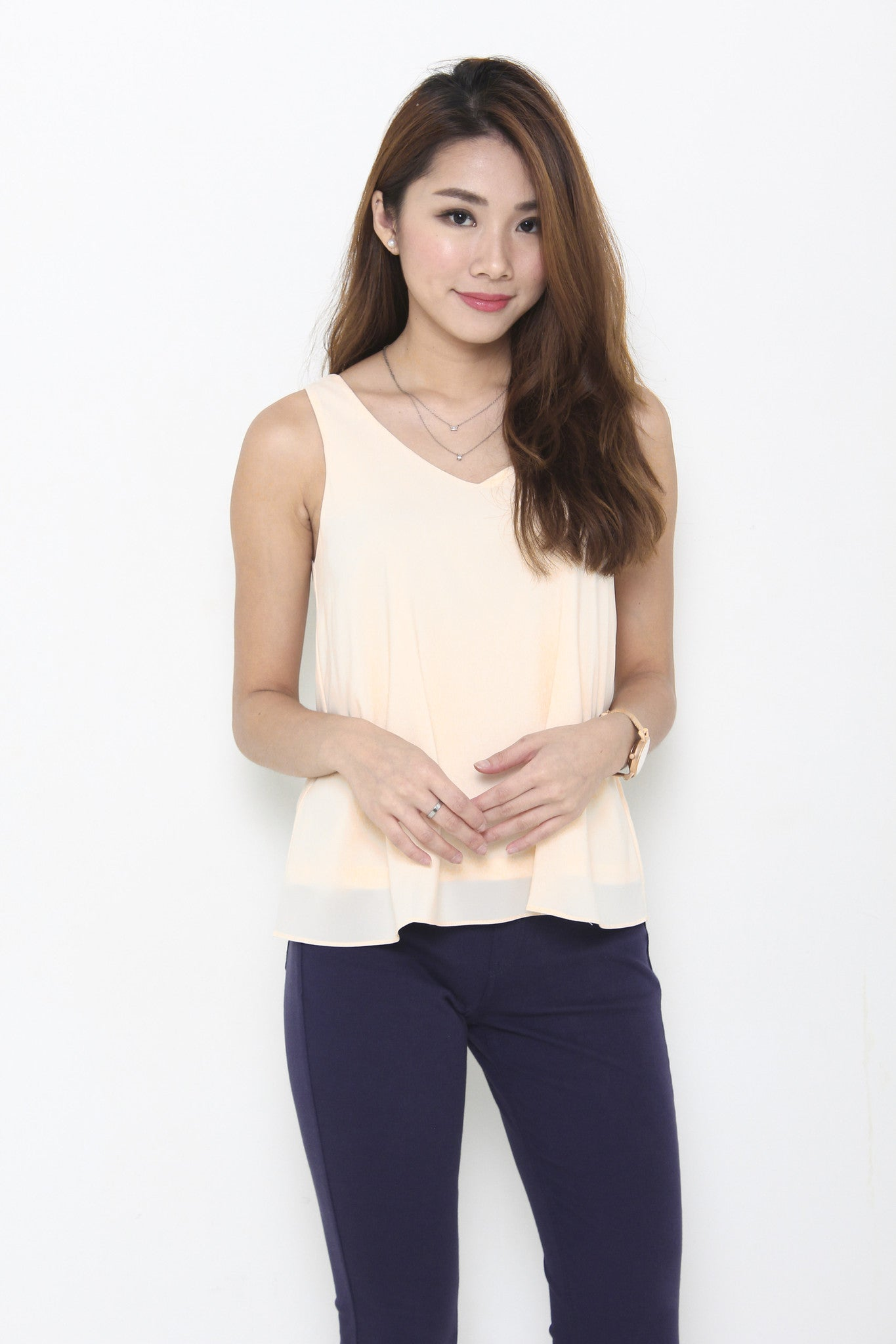 Monroe V Neck Top in Nude